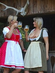 My girlfriend Susi and I worked in the stable We were wearing our dirndl and no panties We had much fun with each other