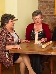 Three mature ladies playing around with one lucky guy