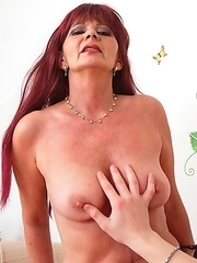 Horny mature lady having fun in POV style