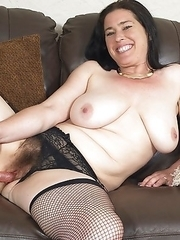 Hairy British housewife playing with her toy