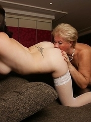Horny old and young lezzies make out and then some