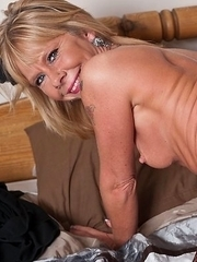 Blonde mature slut playing all alone