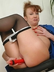 Horny red mhousewife playing alone
